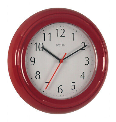 Acctim Wycombe Wall Clock Kitchen Bathroom Bedroom Office - Red