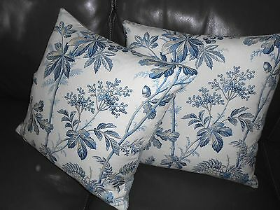 Schumacher throw pillows BRANTWOOD VINE in Indigo printed floral linen new PAIR