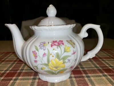 """Small Porcelain Floral Butterfly Teapot 6"""""""