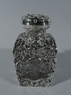 Edwardian Perfume - Antique Bottle - English Sterling Silver Glass - Comyns 1903