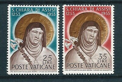 Vatican City 1953 St Clare Death Anniversary Pair Mint Never Hinged/ MH CV £32