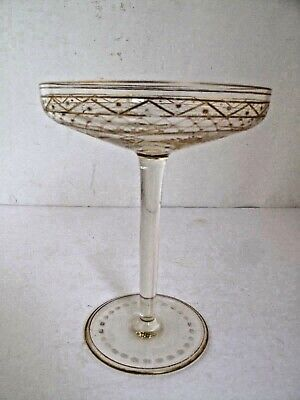Antique French Gilded and Engraved  Crystal Compote or Champagne Glass