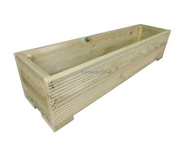 Large Decking Wooden Garden Flower Planter 800 1000 or 1200mm Raised Wood Trough