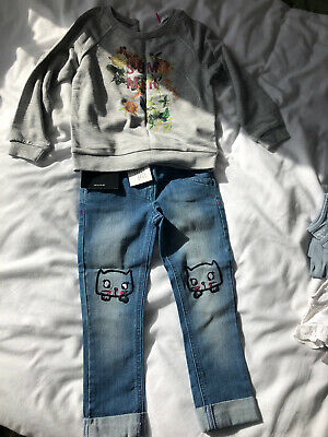 V By Very Infant Girls Outfit Set Age 2-3 Years Jeans Top Summer Cat Motif