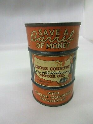 Vintage Advertising Cross Country Oil  Can Bank  616-F