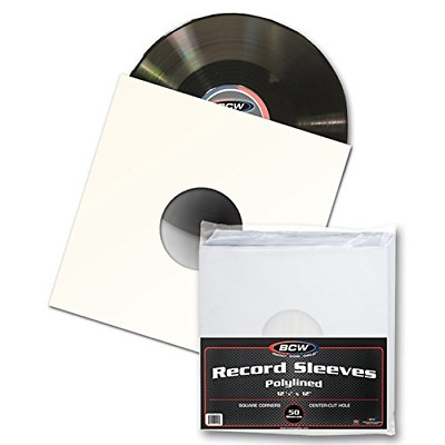 """50 BCW 12"""" Paper & Plastic Polylined Record Inner Sleeves for LP Vinyl Record"""