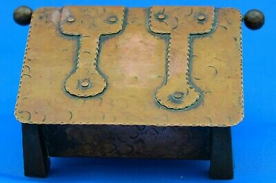 Antique Arts and Crafts copper riveted box , trinket box
