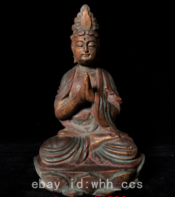 "10.8"" old China antique Aloes wood Carve Guanyin Buddha statue *2"
