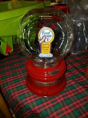 nice Red old Ford gumball machine penny glass blow globe padlock & key 349611
