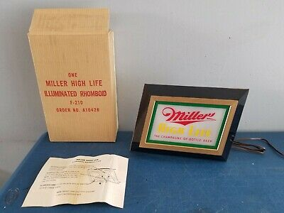 (VTG) 1950s Miller high life beer back bar light up sign advertising wis rare