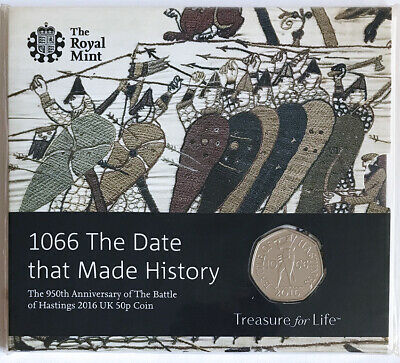 The Royal Mint Battle of Hastings 1066 UK 50p Coin 2016 Brilliant Uncirculated