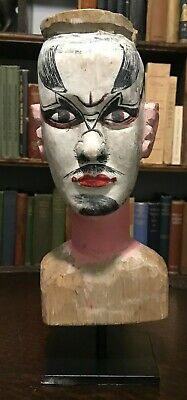 Circa 1900 ANTIQUE ASIAN JAPANESE KABUKI HAND-CARVED PAINTED WOOD PUPPET HEAD