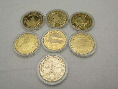Harrah's Casino 1996 Reno NV $2 Brass Token World's 7 Wonders Complete Set