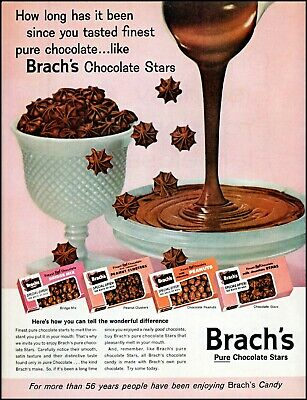 1960 Brach's chocolate stars pouring melted into bowl retro photo print ad adl75