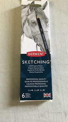 Derwent Professional Sketching Pencils 6 Tin Set 2 x HB, 2B, 4B with Sharpener