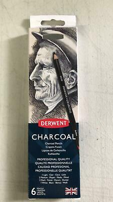 Derwent Charcoal Tin Set of 6 Professional Quality Pencils