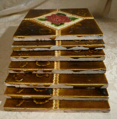 """Antique Victorian Wall Tiles Matching Terracotta Brown Pink Floral x7 6"""""""