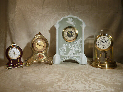 4 Vintage Mantle Clocks 8 Day Anniversary Schmid,Waltz Music,Mercedes Porcelain,