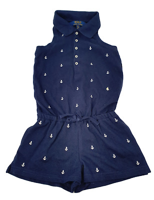Ex Ralph Lauren Polo Girls Playsuit in Navy anchor print age 4,5, 6-7 & 14-15