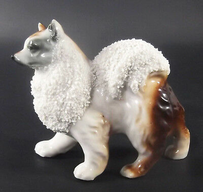 Spitz Dog Figurine Made In Japan Ceramic Brown White Gray Black Vintage