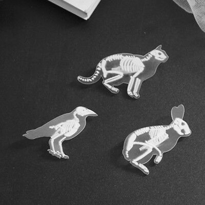 Animal Skeleton Opaque Pin Badge Brooch Cat Mouse Penguin Pig Goth Gothic DP