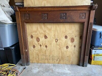 Beautiful Antique Oak Fireplace Mantle From Old Northside, Indianapolis