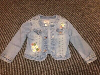 Mayoral Floral Girls Denim Jacket Age 24 Months 2 Years
