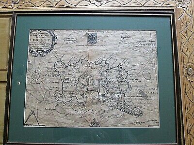 Antique Nautical Map Of Jersey  Of The Chanel Islands Framed