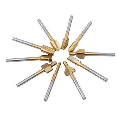 10Pcs/set HSS Router Bits Wood Cutter Milling Fits Dremel Rotary Tools Kit SK