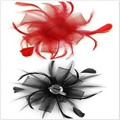 Women's Flower Feather Bead Corsage Hair Clips Fascinator Bridal Hairband SK