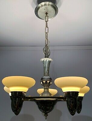 Antique c1930 Streamlined Art Deco Chrome 5 Light Chandelier Custard Cup Shades