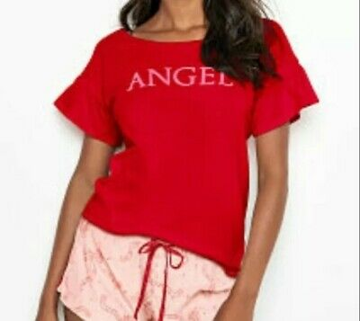 Victorias Secret Sleep Tee Glitter Graphic Angel Ruffle sleeve Top Large L NWT