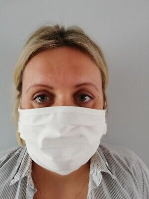 White 100% COTTON Face Mask, HANDMADE, Protective,  Washable Adult Stop Virus