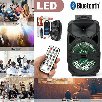 Portable Wireless Party DJ Karaoke PA Speaker Rechargeable USB FM AUX