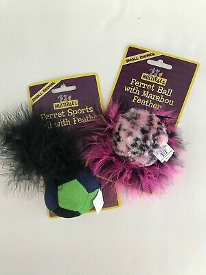 Multipalz Ferret Cat Small Animal Sports and Marabou Feather Ball SET OF 2