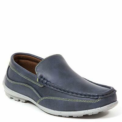 Kids NOTFOUND Boys Booster Driving Slip On Loafers, Navy/Green, Size 2.0 AqFX