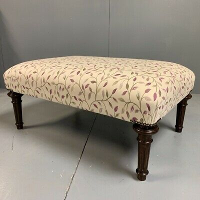 Antique French upholstered centre footstool