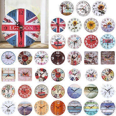 Vintage Wooden Wall Clock Large Shabby Chic Rustic Kitchen Home Antique Decor UK