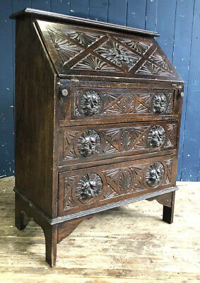 Antique Green Man Georgian Style Oak Bureau Rustic Desk DELIVERY*