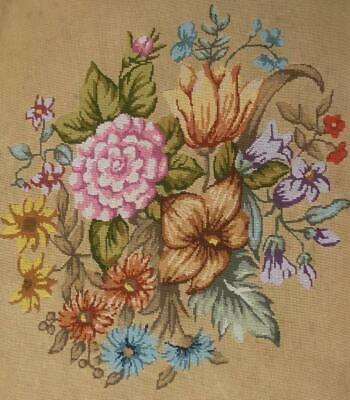 "Antique Completed Petit Point round cotton needlepoint flowers 20.5""D"