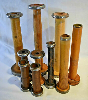 Lot of 10 Vintage Wooden Industrial Bobbins, Quill, and Spools