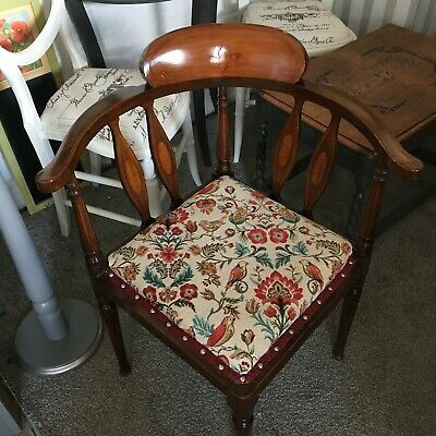 Antique Edwardian Mahogany Inlaid Corner Chair with Newly Upholstered Seat