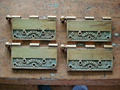 "Antique P&F Corbin Harvard Brass 5"" DOOR HINGE LOT Cannon Ball Top Finials Vtg"