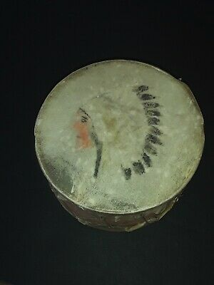 Vintage 1880's Native American Indian Hand Paint Drum Traditional Childs Pow Wow
