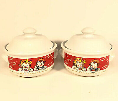 Campbells Chicken Noodle Soup Bowl W/ Lid 1998 Collectible Vintage Lot Of Two