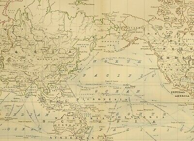 1873 Hand Coloured Map Chart Of The World Asia Europe Americas Currents Ports