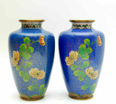 Pair Of Vintage Antique Chinese Matching Cloisonne Blue Floral Vases 6-1/4""