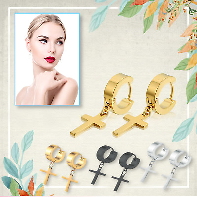 PAIR of Women Men's  Punk Style Stainless Steel Cross Huggie Hoop Earrings