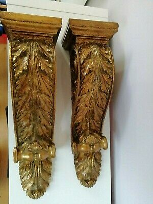 Pair large gilded Wall Corbel sconces / brackets / shelves French vintage style