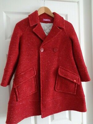 ValMax Girls Designer Red Mix Wool Blend Peacoat Coat age 8 Made in Italy
